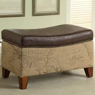 Armen Living Storage Ottoman, Map Jute Fabric/Vintage Brown Bonded Trim