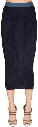 Fendi Viscose Rib Knit Pencil Skirt