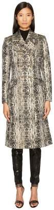 Just Cavalli Snake Print Double Breasted Coat Women's Coat