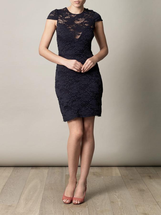 L'Agence Crochet lace stretch dress