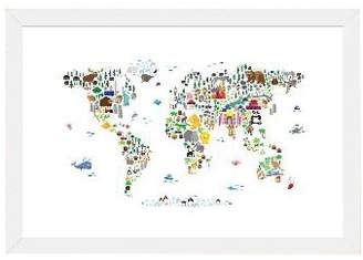 iCanvas 'Animal Map of the World' Graphic Art Print Format: White Frame,