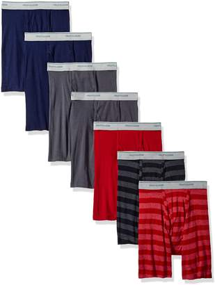 Fruit of the Loom Men's Boxer Brief (Pack of 7), Assorted-Blues, Grays, Reds
