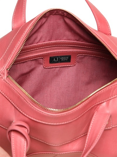 Armani Jeans Embossed Logo Faux Leather Top Handle