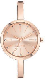 Nine West Women's Rosetone Crystal Bangle Watch