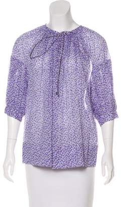 Michael Kors Floral Print Long Sleeve Blouse w/ Tags