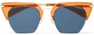 Rag & Bone Cat-eye Acetate And Gold-tone Sunglasses - Orange