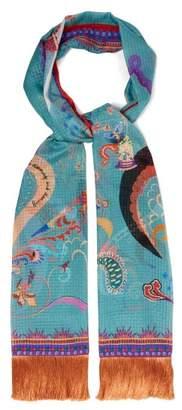 Etro Fairy Tale Print Silk Scarf - Womens - Blue