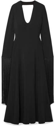 Stella McCartney Fringed Open-back Crepe Maxi Dress - Black