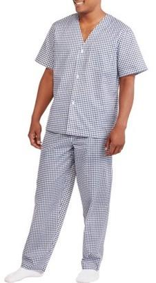 Fruit of the Loom Big Men's Short Sleeve Long Length Pant Print Pajama