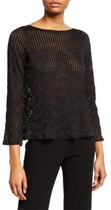 Giorgio Armani Pleated Sheer-Striped Easy Top