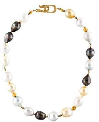 Pearl & Labradorite Bead Strand Necklace