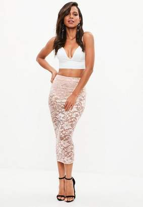 Missguided Pink Lace High Waist Midi Skirt