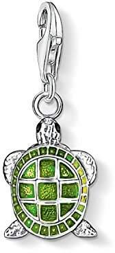 Thomas Sabo Women-Charm Pendant Turtle Charm Club 925 Sterling Silver green black 0837-007-6 nNHPVk4JS