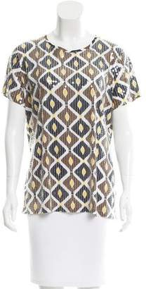 Tory Burch Abstract Print Sequined Top
