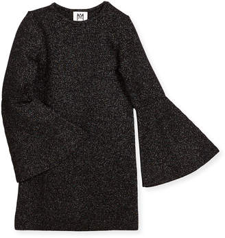 Milly Minis Bell-Sleeve Sparkle Shift Dress, Size 4-7