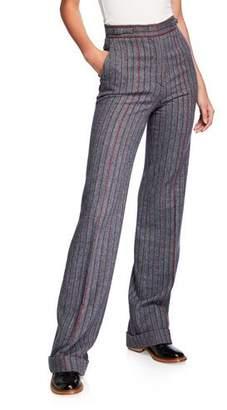 Gabriela Hearst Shipton Herringbone Stretch Wool-Cashmere Trousers