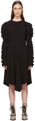 Chloé Black Crepe Ruched Sleeve Dress