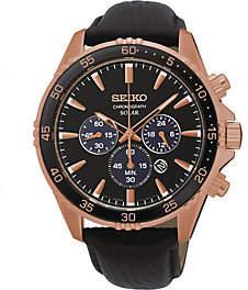 Seiko Men's Rosetone Stainless Solar Chronograph Leather Watch