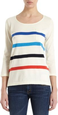 Trovata Striped Three-Quarter Sleeve Top