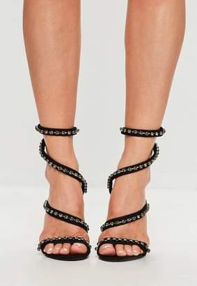 Missguided Carli Bybel x Black Wrap Around Diamante Suede Heels