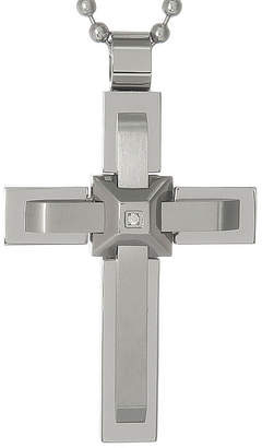 FINE JEWELRY Mens Cubic Zirconia Stainless Steel Triple Layer Cross Pendant Necklace