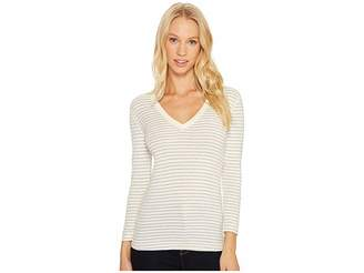 Three Dots Tahoe Stripe 3/4 Sleeve Deep V-Neck Women's Clothing