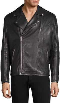 HUGO Lanster Shearling-Lined Leather Biker Jacket