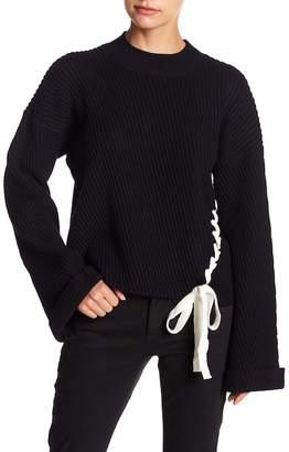 Fate Lace-Up Hem Drop Shoulder Sweater