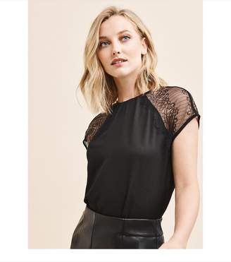 Dynamite Short Sleeve Lace Blouse JET BLACK