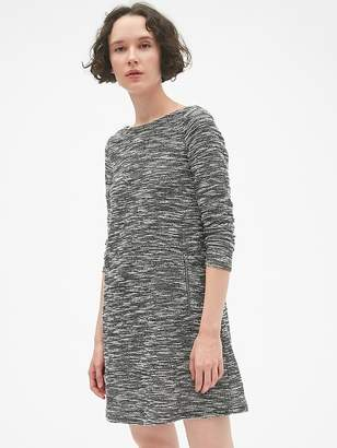 Gap Long Sleeve A-Line Dress with Zip-Pockets in Boucle