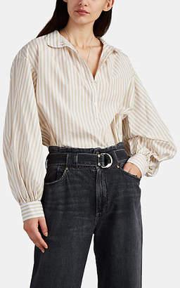 Nili Lotan Women's Claya Striped Cotton Blouse - Tan Stripe