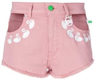Flamingos Gcds embroidered denim shorts