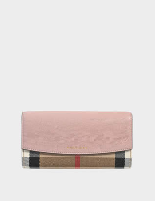 Burberry House Check Porter Flap Wallet in Pale Orchid Grained Calfskin