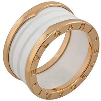 Bvlgari B.Zero1 Four Band 18 kt Rose Gold and White Ceramic Ladies Ring - Size 8.5