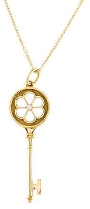 Tiffany & Co. 18K Diamond Key Pendant Necklace