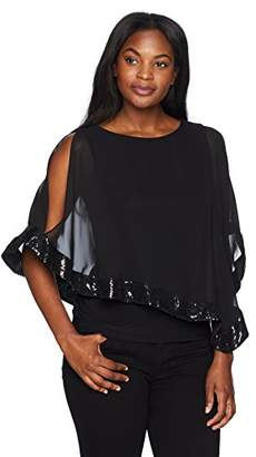 MSK Women's Day to Evening Cape Overlay Blouse with Sequence Trim