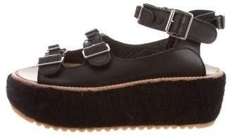 Julien David Shearling-Lined Flatform Sandals