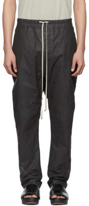 Rick Owens Black Coated Long Drawstring Trousers