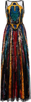 Elie Saab Beaded Tulle Sleeveless Dress