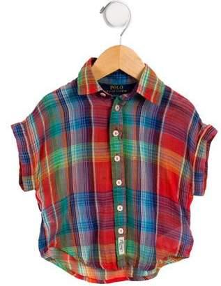 Polo Ralph Lauren Girls' Plaid Button-Up Top