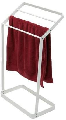 Mind Reader 3 Tier Bath Towel Bar Stand Alone Bathroom Rack, Drying Stand, Towel Valet Holder, Metal, White