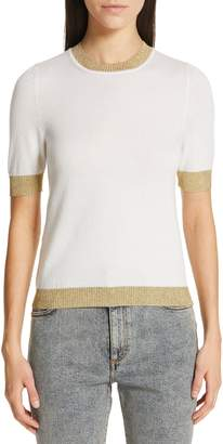 Gucci Metallic Trim Cashmere & Silk Sweater