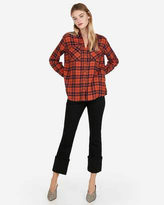 Express Orange Plaid Flannel Boyfriend Shirt