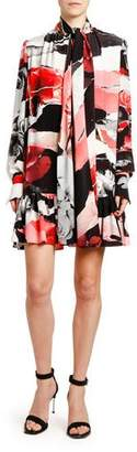 Alexander McQueen Torn Rose-Print Crepe de Chine Tie-Neck Dress