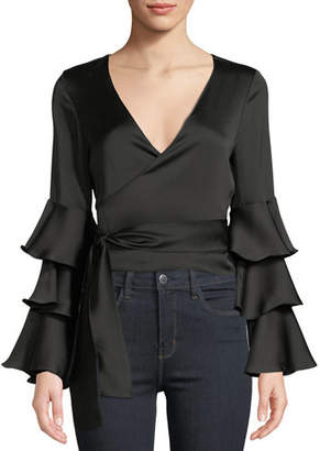Jay Godfrey Triple Tier-Sleeve Satin Wrap Blouse