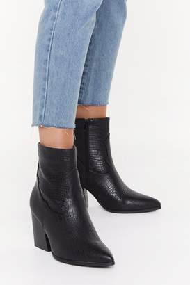 Nasty Gal Womens Turn Back The Croc Faux Leather Western Boots - Black - 3
