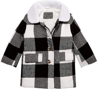 Carter's Carter Baby Girls Plaid Jacket with Faux-Fur Collar