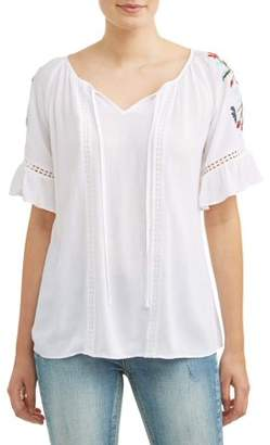 Cherokee Women's Embroidered Peasant Top
