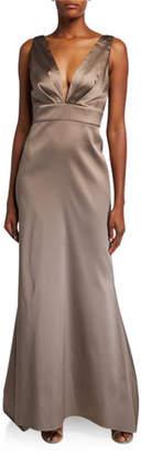 Sachin + Babi Penelope V-Neck Bow Back Sleeveless Gown