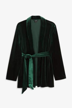 Monki Velvet wrap blazer